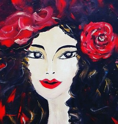 "Ana Eugenia Pacurar art ""The woman with the rose"" -original oil painting"