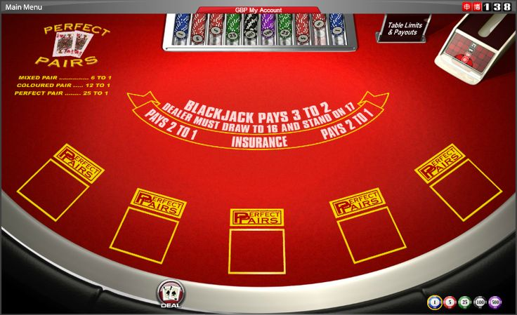 Perfect Pairs - The game features an optional side-bet, where you win if the first two cards dealt to a hand are a pair. #online #casino #cards #games #blackjack #21 #pairs #138.com
