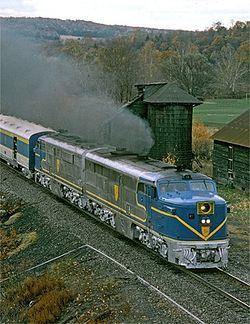ALCO PA1s.  Former Santa Fe shown hauling railfan excursion for Delaware & Hudson October, 1974.