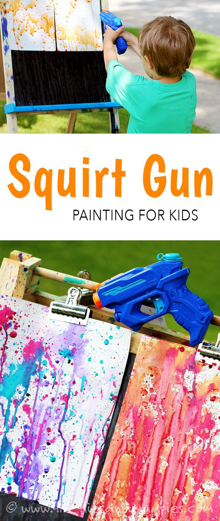 Squirt Gun Painting! Kids will ask to do this again and again!  via Fireflies and Mud Pies
