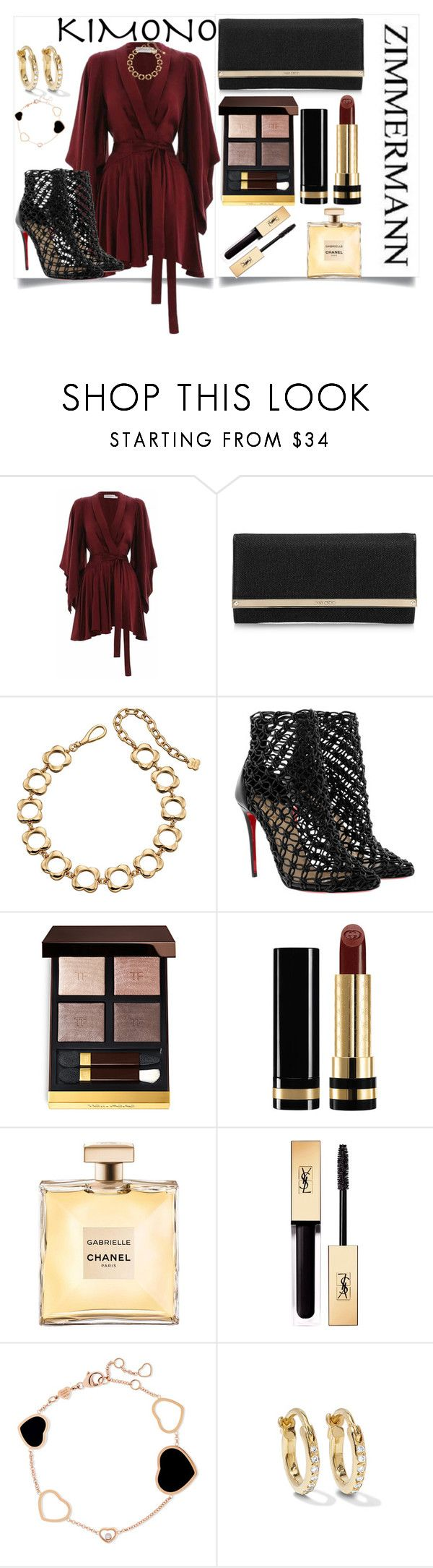 """Kimono"" by perezbarrios on Polyvore featuring Zimmermann, Jimmy Choo, Orla Kiely, Christian Louboutin, Tom Ford, Gucci, Yves Saint Laurent, Chopard and Ileana Makri"