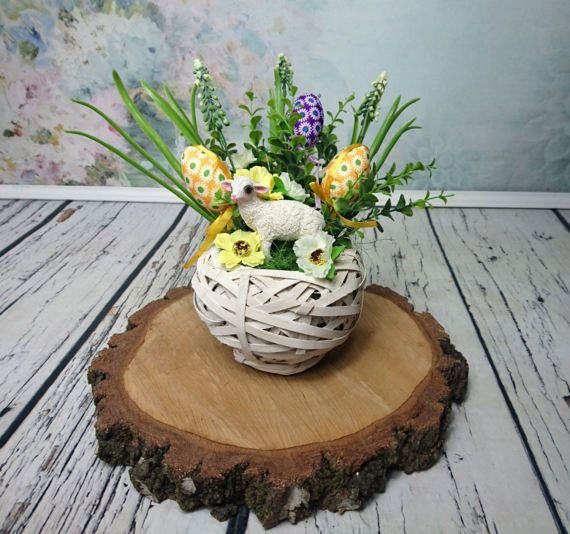 Green yellow Easter floral arrangement lamb of by MKedraHandmade