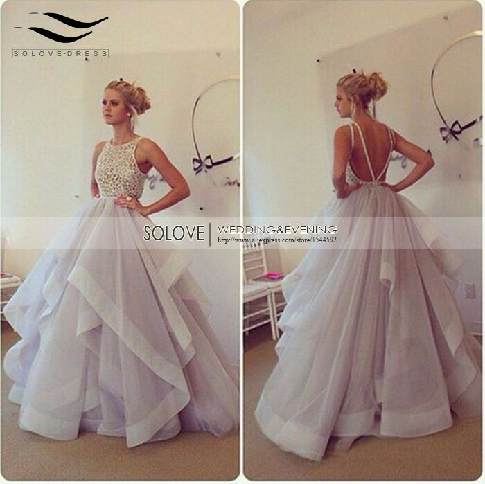 Tiered Spaghetti Strap Backless Elegant Puffy Prom Dress Organza Long Prom Dress 2017 Beaded Ball Gown vestido de fiesta L-P150