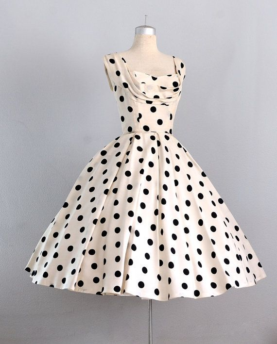 1950's Ceil Chapman Polka Dot Dress