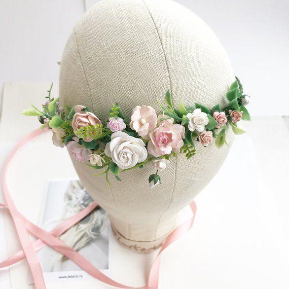 Blush pink flower crown, Bridal flower hair piece, Blush flower headpiece, Blush Flower wedding crown, Bridal flower crown, Blush wediing