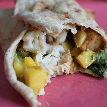 YUM! Tilapia wrap with mango salsa and guacamole recipe. #healthy