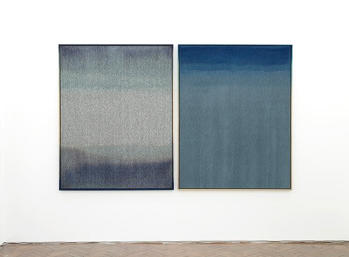 "View of Nina Beier's ""Shirts vs Skins"" Laura Bartlett Gallery, London, 2012."