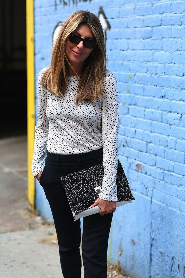 Who What Wear Blog 7 Ways To Mix Prints For Spring Street Style Via Elle Nina Garcia Splatter Polka Dot Top Clutch Bag