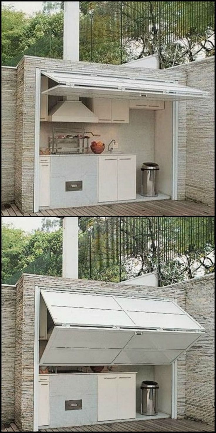 "The problem with most outdoor kitchen is that they're exposed. Here's an idea that will keep them protected from the elements AND provide shade for the chef in your family! If you love outdoor cooking, then head over to our ""Outdoor Kitchen"" gallery http http://grilidea.com/char-broil-classic-4-burner-gas-grill-review/ Pinterest 