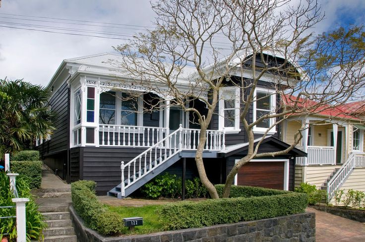 Lovely villa painted black with white trim! A totally different experience in style. New Zealand somewhere...