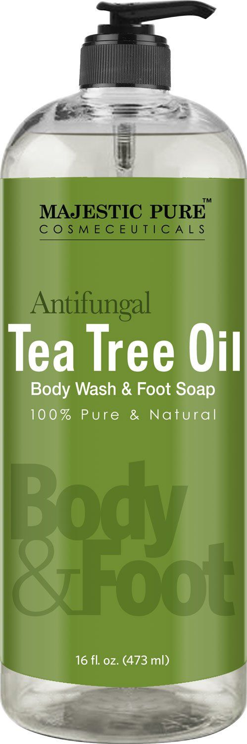 Majestic Pure Antifungal Tea Tree Oil Soap, Naturally Scented Foot & Body Wash, 16 fl. oz. - Helps with Nail Fungus, Athlete Foot, Ringworms, Jock Itch & Body Odor