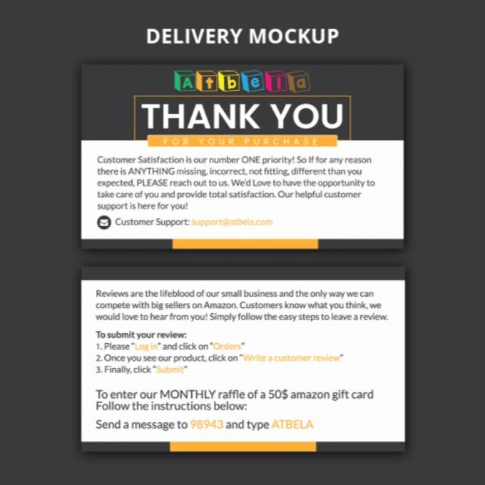 Designstore7 24 I Will Design Amazon Thank You Card Product Insert Package Insert For 5 On Fiverr Com Thank You Card Design Thank You Cards Cards