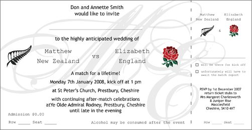 rugby ticket invitation PERFECT FOR L& E