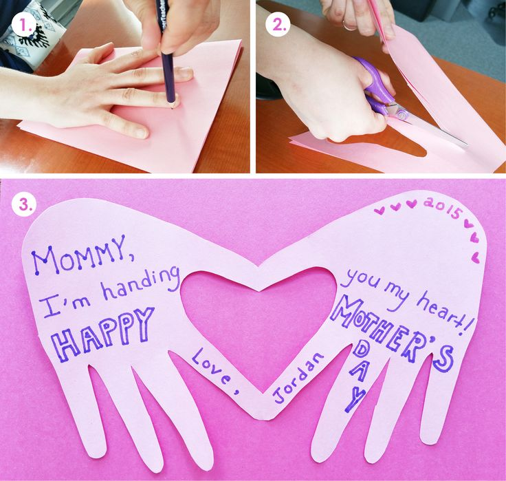 A cute and simple Motheru0027s Day craft for young children. Trace your hand to  make a heart-shaped card.