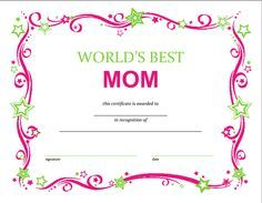 FREE Printable Mothers Day Certficate from SlapDashMom