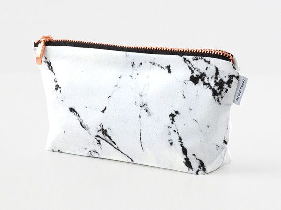 Marble Amp Copper Bag Pouch Case Make Up Bag By Renna