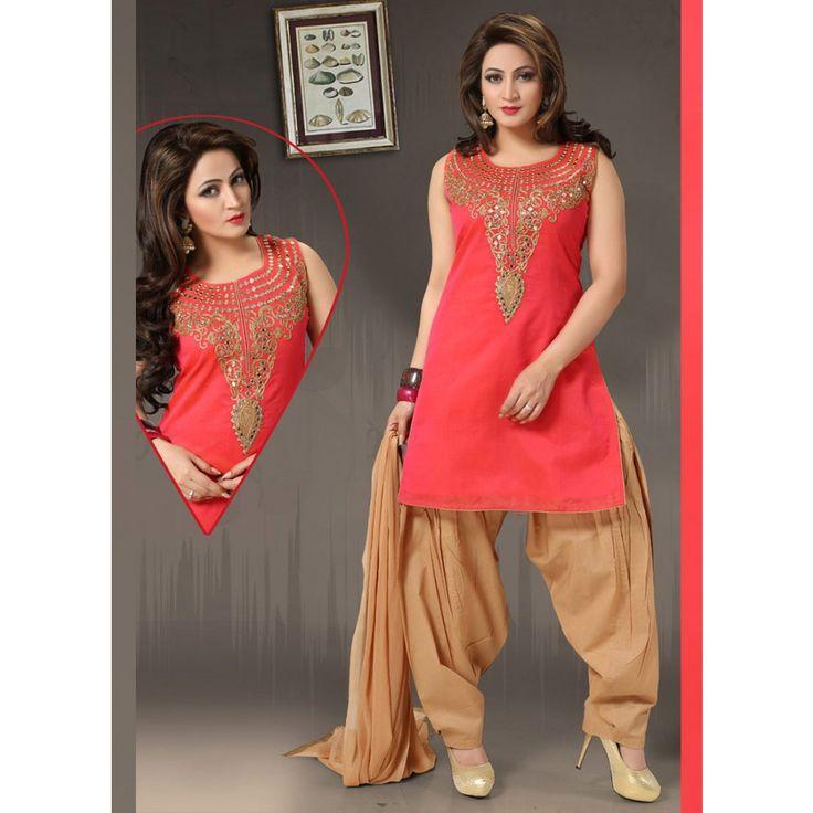 Red Art Silk Readymade #Patiyala Kameez With Dupatta- $50.49