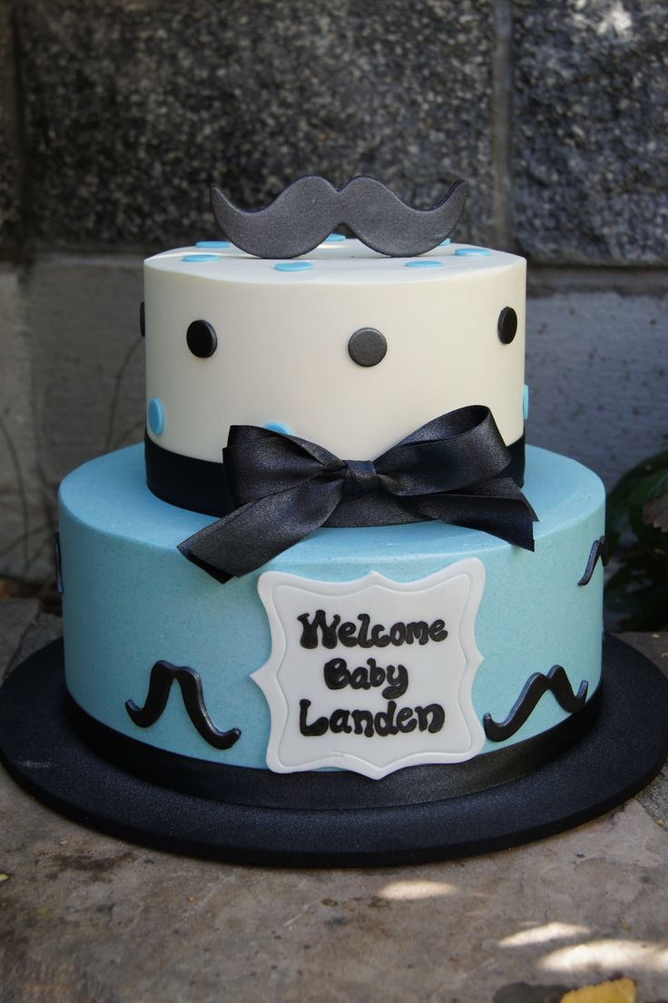 Blue And White Baby Shower Cake With Polka Dots And Mustaches