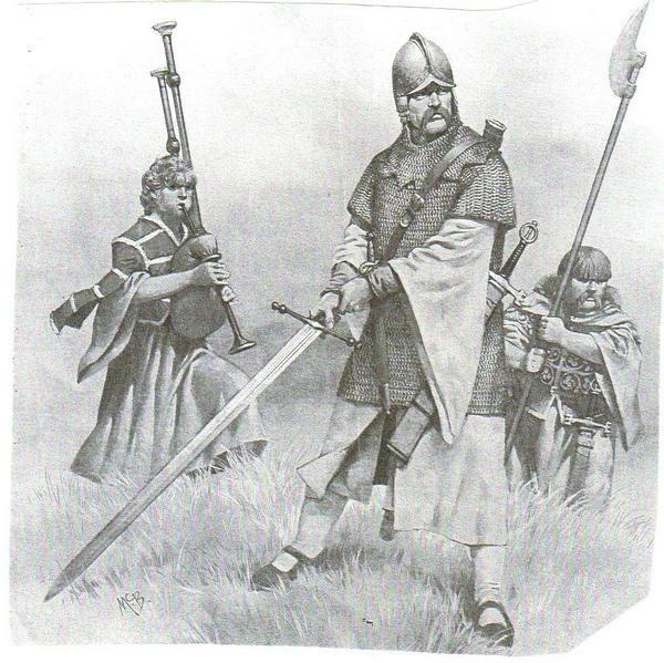 The Galloglaich were fierce mercenaries of Norse Scottish origin, Dion, based in the Hebrides and West Highlands. They were employed by Irish kings and princes to fight heavy English cavalry and they were also in the armies of King Robert Bruce. Their typical garb was a heavy mail hauberk and domed helmet, their arms a massive two handed sword and the formidable sparth axe.