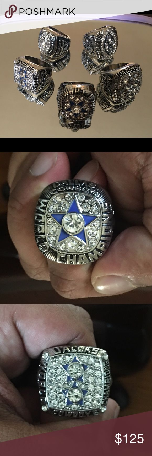 Five Dallas Cowboys super bowl ring set Dallas Cowboys Super Bowl championship rings 1971 with Staubuck as MVP. 1977 Super Bowl ring with Staubuck as MVP.  Back-to-back Super Bowl rings one with Aikman as MVP the 92 and 93 with Emmitt Smith as MVP and 95 with brown as MVP.  Sold as a set  Great for your man cave, or to showcase for your guests and rivals. Accessories Jewelry