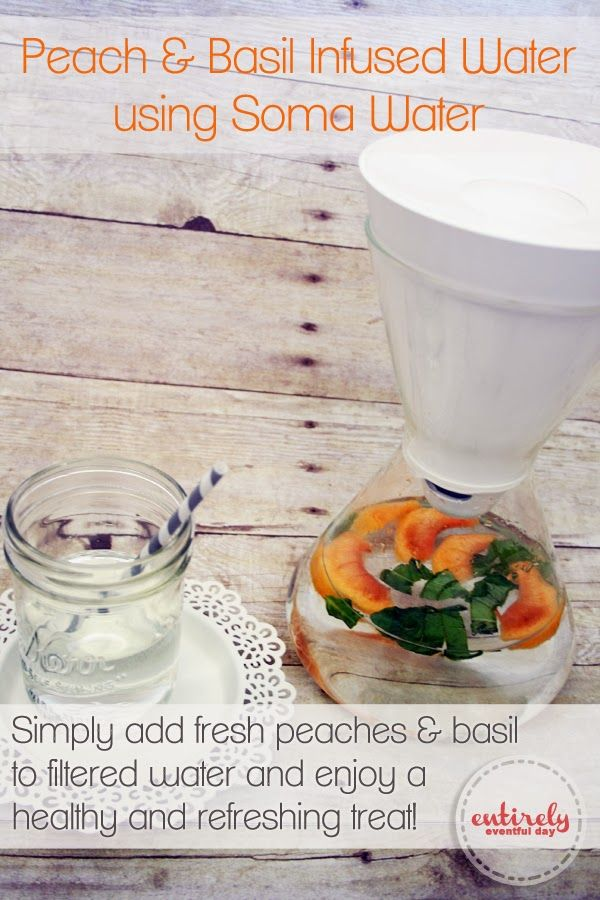 Best tasting water ever! Peach and Basil Infused Water. www.entirelyeventfulday.com #givesoma #pmedia #ad