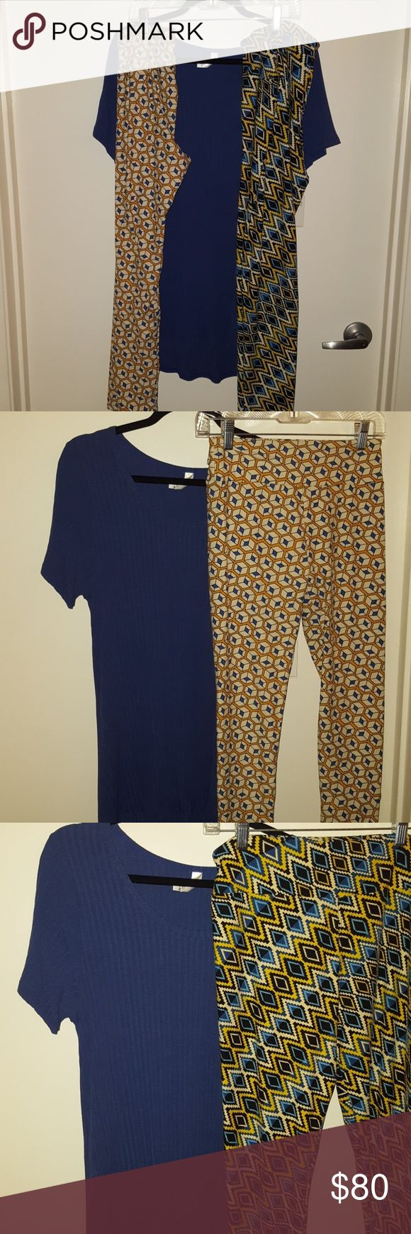 Lularoe outfit blue xl classic with two leggings Solid ribbed blue with one or two leggings. First pair is OS and second pair are TC. If you only want one or the other please let me know LuLaRoe Tops