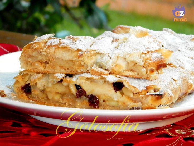 Strudel+di+mele+con+pasta+sfoglia,+ricetta+dolci+veloci