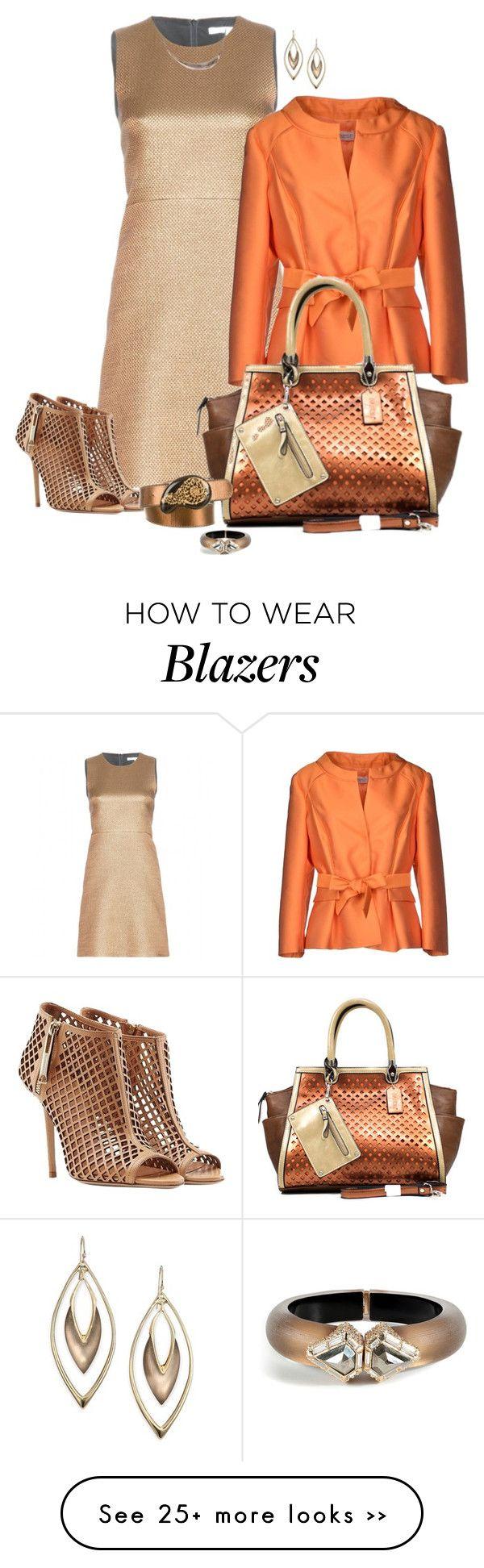 (33CO; bronzy gold silk dress, orange silk blazer, orange a/ gold purse, light brown boot heels)
