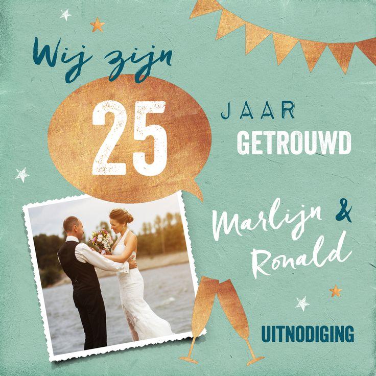 Vintage jubileum uitnodiging 25 jaar getrouwd met feestelijke gouden details
