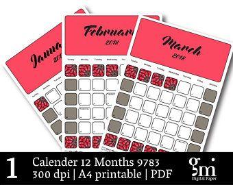 Calendar to Print, Printable Calendar, Calendar 2018 Printable, Monthly Calendar, 12 Month Calendar, Calendar Download, Calendar PDF