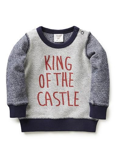 cotton/polyester sweat with front 'king of the castle' slogan print. Features contrast sleeves, neckband and hem rib.