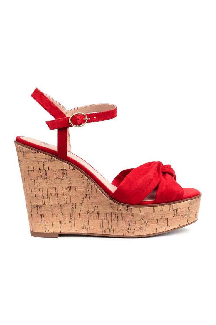 Sandales à talon compensé - Rouge - FEMME | H&M FR