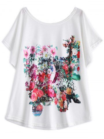 GET $50 NOW | Join RoseGal: Get YOUR $50 NOW!http://www.rosegal.com/t-shirts/white-batwing-sleeve-floral-print-t-shirt-608558.html?seid=6892603rg608558