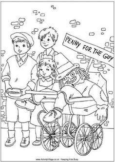 Penny for the Guy - Bonfire Night - Guy Fawkes Night - Gunpowder Plot - colouring pages and activities