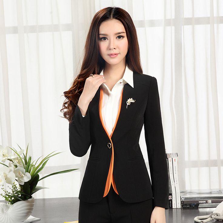 2017 autumn winter women's long-sleeve blazer plus size OL office formal female suit jacket work wear slim Patchwork outerwear