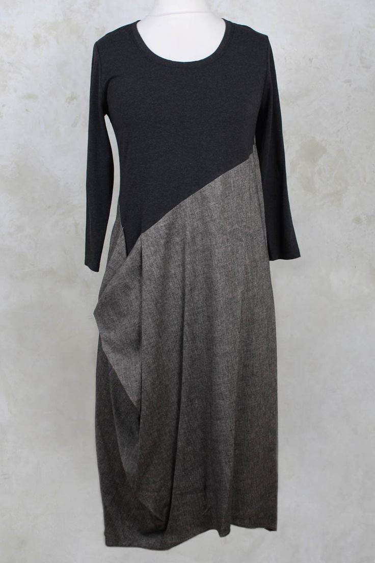 Long Dress with Contrasting Panel in Brown - Crea Concept from www.oliviamay.org