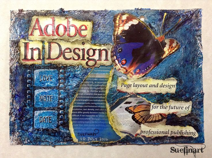 Today's art journal inspiration comes from my background as a graphic artist. I was searching through some old software boxes and came across my first copy of Adobe Indesign. I suppose this piece is more about me going down memory lane.
