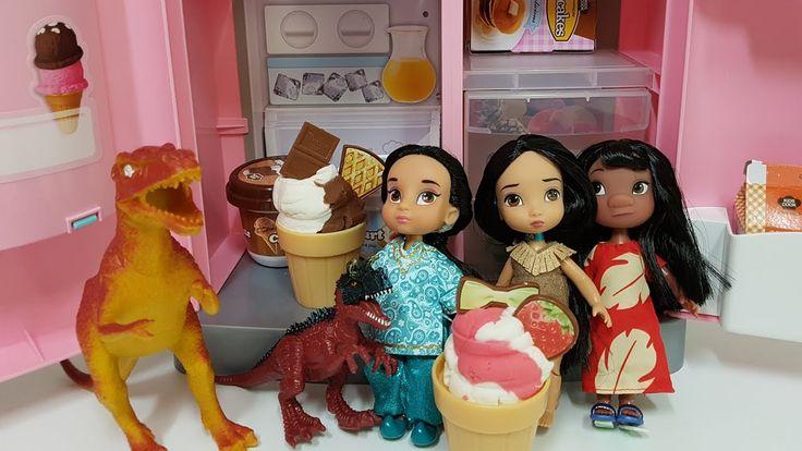 Disney Baby Doll and Dinosaur Refrigerator Toy Play & 디즈니 베이비돌 공룡 냉장고 장난감