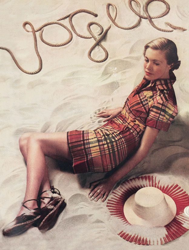 """June 1934 The time of year means tennis-inspired styles are scattered over the preliminary pages with Selfridges showing """"the necessary pantie for sport's clothes... made of two-way stretch latex in a shade of tea-rose"""", and Fortnum and Mason displaying its """"new tennis two-piece made in linen"""". The cover design also signals summer fashions, and """"Vogue's eye view of the mode"""" highly recommends its display of shorts and a two-piece beach suit in West Indian colours."""