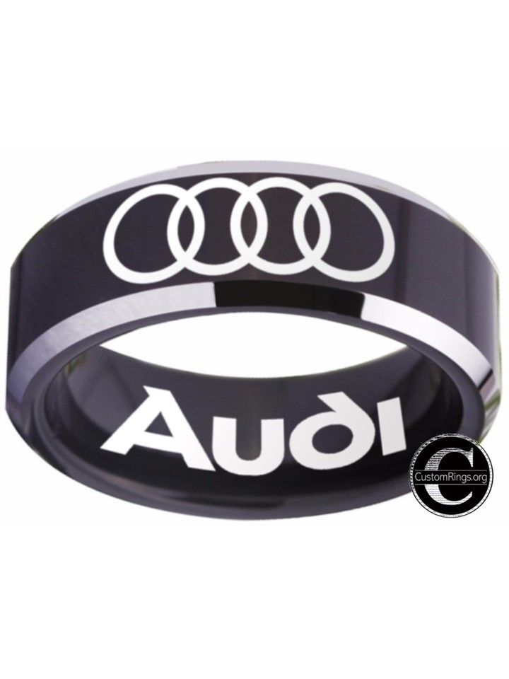 Audi Ring black and silver logo ring 8mm Tungsten Ring, sizes 4 - 17