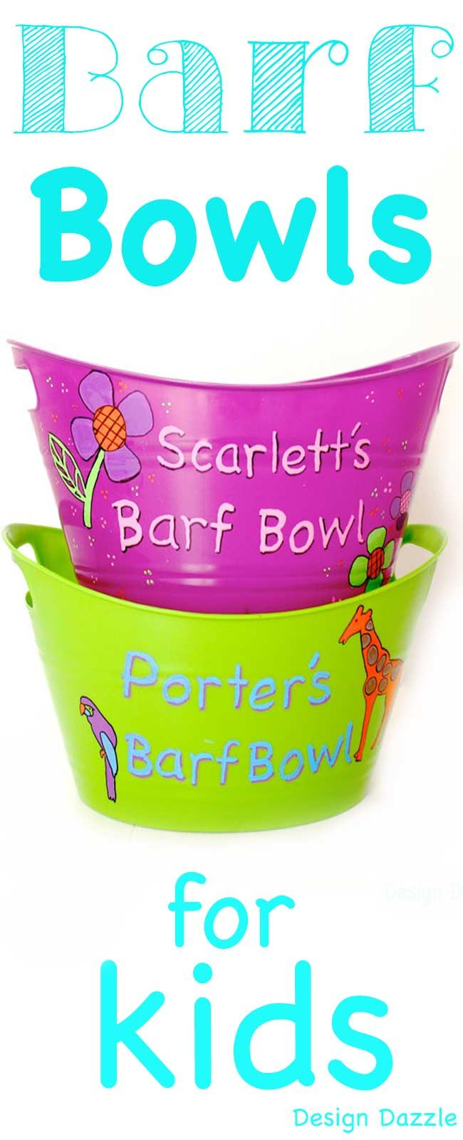 Barf Bowls for Kids! Your kids can paint and personalize dollar store bowls. These are perfect when your littles get sick. Store under the bathroom sink so they're handy when you need it! Design Dazzle