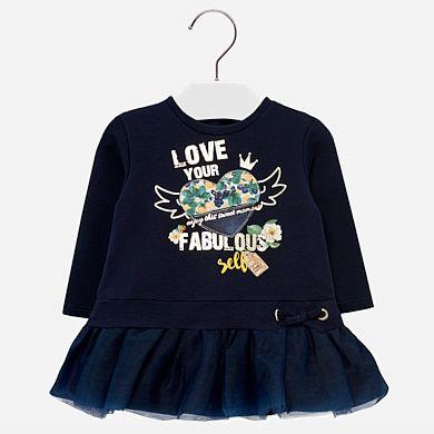 511c0acb8 Tulle fleece dress for baby girl Rojo