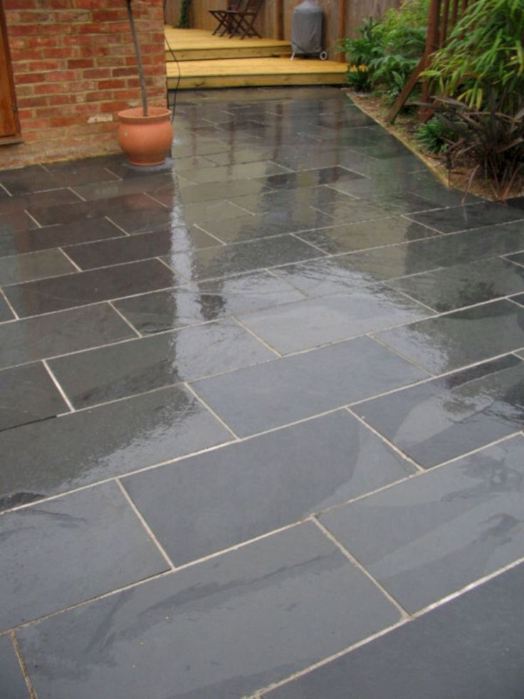 35 Gorgeous House Patio Design With The Natural Stone Freshouz Com With Images Garden Slabs Patio Garden Patio Stones