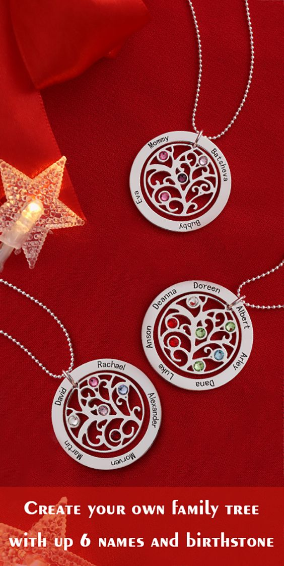 This beautiful Family Tree with birthstones necklace,  it allows you to engrave each family member's name.Order now,save 50% off,  Persoanlise your Christmas Gift  from getnameneckalce