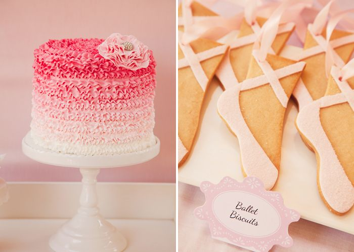 i've been looking for the source of this pink ruffle cake, love it even more as part of a ballet themed dessert table