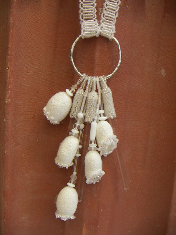 Long Beaded White Necklace with Silk Cocoons and Vintage Glass