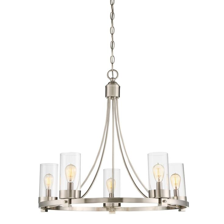 Filament Design 5-Light Brushed Nickel Chandelier with Clear Glass Shade-CLI-SH473854 - The Home Depot