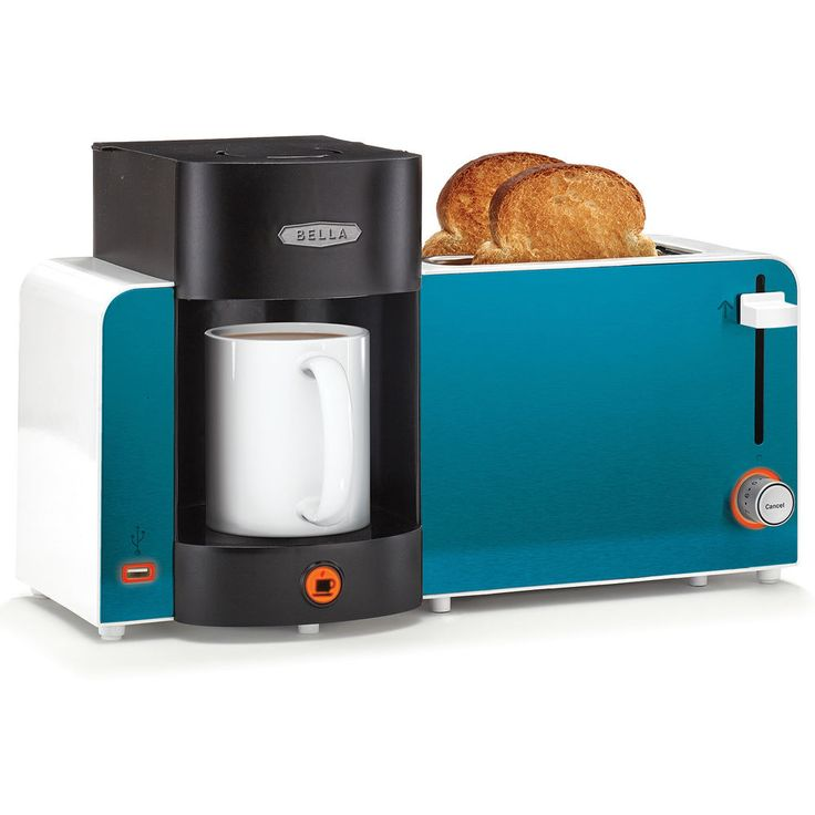 Toast & Brew Breakfast Station Toaster Bagel Single Coffee Maker USB Charger New #BellaCucina
