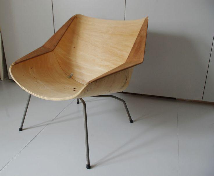 rare modernist vintage danish mid century modern bent ply chair