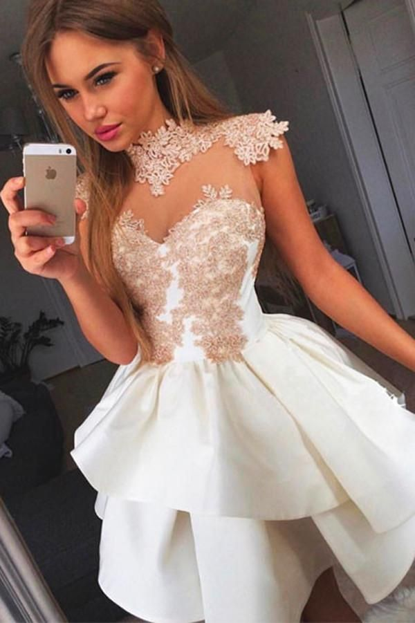 sexy homecoming dresses, white homecoming dresses, A-line homecoming dresses, applique homecoming dresses, short prom dresses, party dresses, formal dresses#SIMIBridal #homecoming dresses